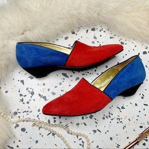 vintage Escada red blue color block suede loafers